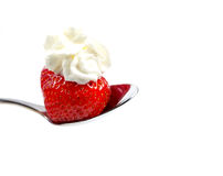 Strawberry with cream Stock Photo