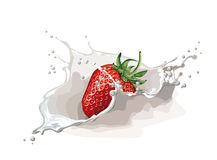 Strawberry with cream stock image