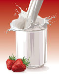 Strawberry with cream Stock Photos
