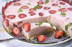 Strawberry cream cake. Pieces removed Stock Images