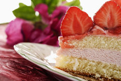 Strawberry cream cake, cross section Stock Photography