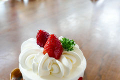 Strawberry cream cake in a cup Stock Photo