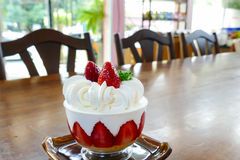 Strawberry cream cake in a cup Royalty Free Stock Image