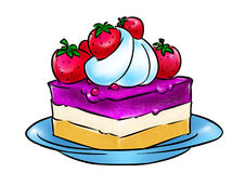 Strawberry cream cake illustration Royalty Free Stock Photography