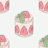 Strawberry cream cake with mint seamless pattern. Sweet dessert illustration Stock Image