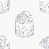 Strawberry cream cake outline seamless pattern Stock Photo
