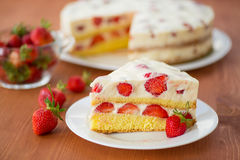 Strawberry cream cake Stock Image