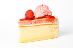 Strawberry cream cake slice. Pastry on white background royalty free stock photography