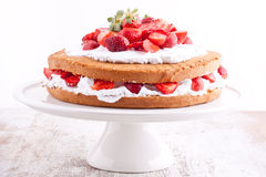 Strawberry cream cake Stock Photos