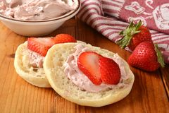 Strawberry cream cheese on an English Muffin Stock Photo