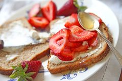 Strawberry and cream cheese sandwich Royalty Free Stock Images