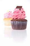 Strawberry cream chocolate cupcake isolated Stock Image