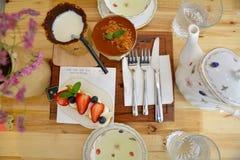 Strawberry cream dessert and fork Royalty Free Stock Photo