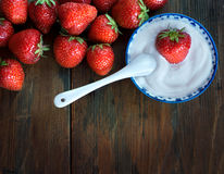 Strawberry with cream Royalty Free Stock Photo