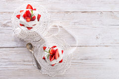 Strawberry with cream Royalty Free Stock Images