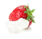 Strawberry with cream isolated on the white background Stock Images