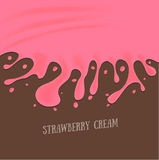 Strawberry Cream Melted Background. Vector Royalty Free Stock Photos