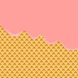 Strawberry Cream Melted on Wafer Background. Vector Illustration. Strawberry Cream Melted on Wafer Background. Stock vector Illustration Royalty Free Stock Image