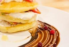 Strawberry cream pancake Royalty Free Stock Image