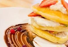 Strawberry cream pancake Royalty Free Stock Images