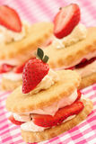 Strawberry and cream shortbreads Royalty Free Stock Image