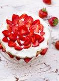 Strawberry and cream sponge cake Stock Images