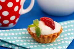 Strawberry and cream tart Stock Image
