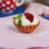 Strawberry and cream tart Royalty Free Stock Photo