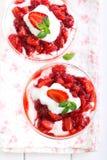 Strawberry and cream trifle Stock Photo