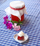 Strawberry with creams and jar Royalty Free Stock Photo