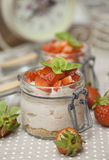 Strawberry creme with mascarpone cheese and basil on top Royalty Free Stock Photo