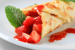 Strawberry crepe Royalty Free Stock Photos