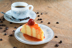 Strawberry crepe cake and a cup of coffee Royalty Free Stock Images