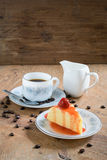 Strawberry crepe cake and a cup of coffee Royalty Free Stock Image