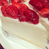 Strawberry crepe cake Royalty Free Stock Image