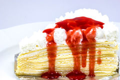 Strawberry crepe cake Royalty Free Stock Images