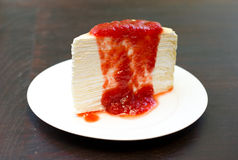 Strawberry crepe cake Stock Photos