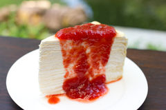 Strawberry crepe cake Royalty Free Stock Photography