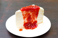 Strawberry crepe cake Stock Images