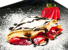 Strawberry Crepe with Chocolate stock photos