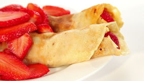 Strawberry crepe pancake stock video