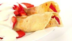 Strawberry crepe pancake with yogurt stock footage