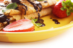 Strawberry crepes Royalty Free Stock Photography