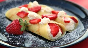 Strawberry Crepes Stock Images