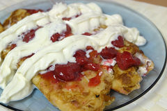 Strawberry crepes. On plate Stock Photo