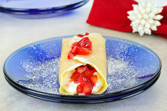 Strawberry crepes or pancakes Stock Images