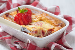 Strawberry crepes roll baked in cheesecake Stock Images