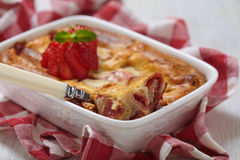 Strawberry crepes roll baked in cheesecake Royalty Free Stock Photos