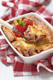 Strawberry crepes roll baked in cheesecake Royalty Free Stock Images