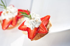 Strawberry Crostini Stock Photography